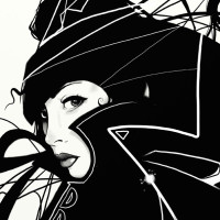 Nic Brennan black and white illustration Woman in black