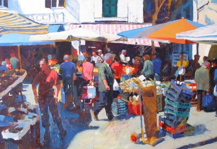 Paul Joseph-Crank illustration, Street market, Naples