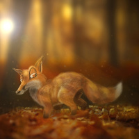 Joel Langlois - Illustrator - fox in the wood