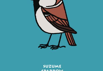 Joel Langlois - Illustrator - Garden Birds poster Sparrow