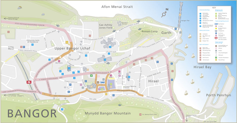 Richard Bowring - Illustrator - Map of Bangor for the city council