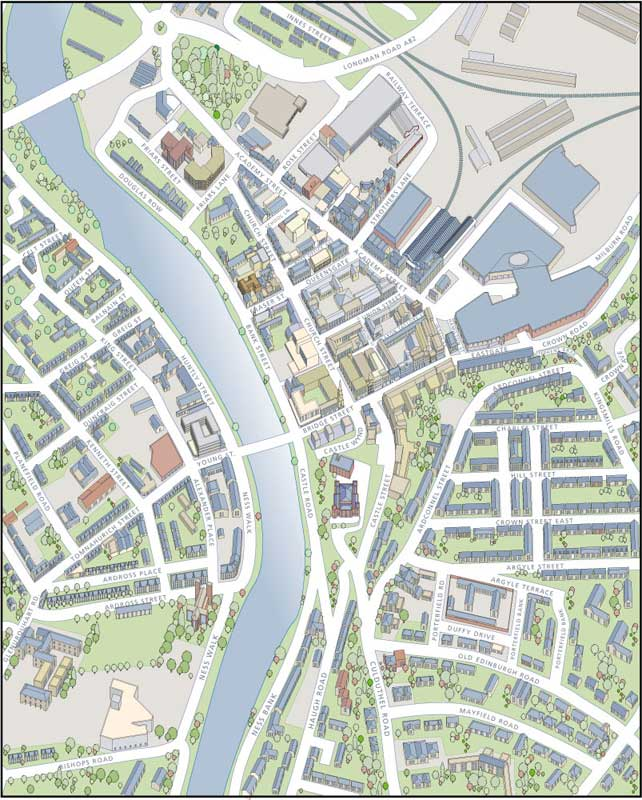 Richard Bowring - Illustrator - Map of Inverness for Tourist information