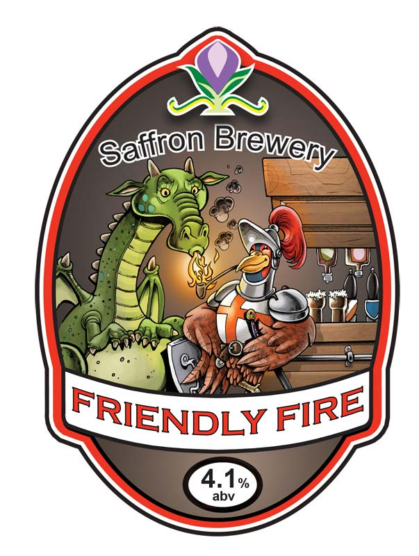 Russ Daff - Illustrator - Friendly Fire beer label/pump clip for St Georges Days beer