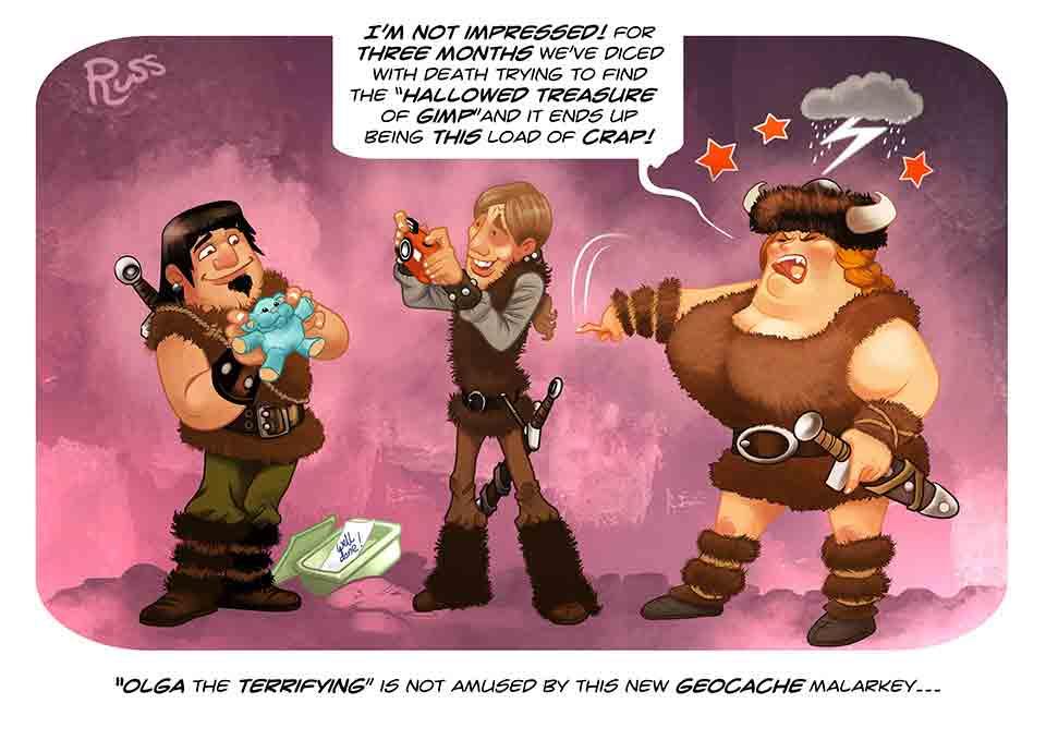 Russ Daff - Illustrator - Geo Cache gag cartoon
