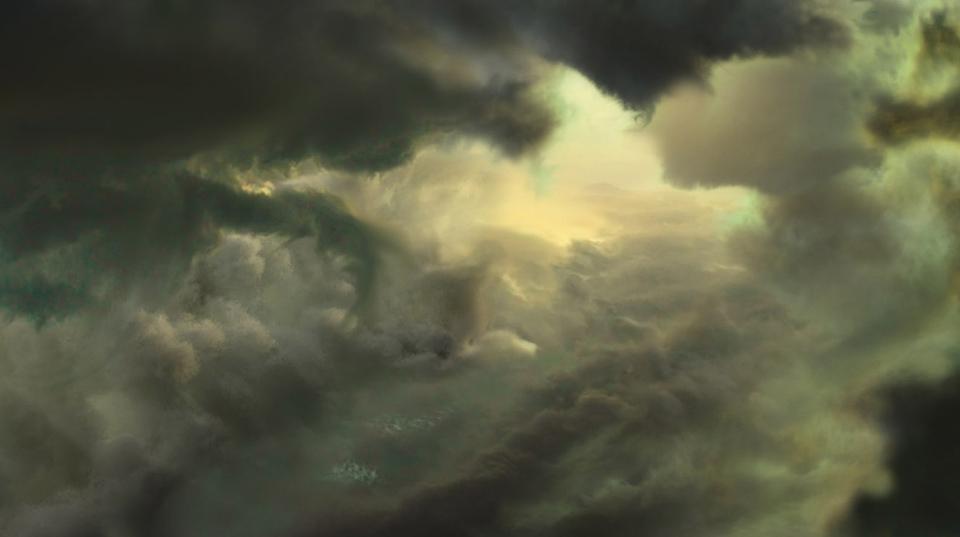 Jason Riley - Toxic Sky Cloud Valley Concept for Killzone Mercenary. Maya Fluids, Photoshop.