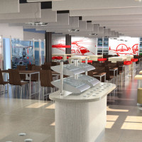 Virtual CGI of Restaurant & Servery area proposals for Agusta Westland Helicopters, Yeovil, on behalf of Elior Contract Caterers, 2013