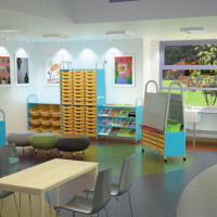 Virtual CGI showing new school storage 'Callero' product range for Gratnells Education Systems, Harlow, 2014