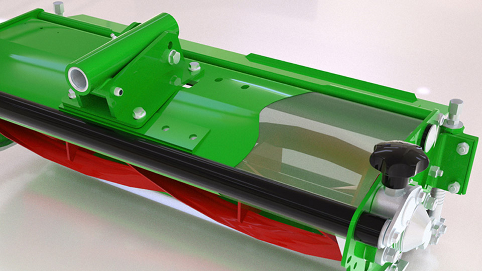Virtual CGI of new rotary cutter unit with cutaway section to show blade mechanism, Ransomes Jacobsen, Ipswich, 2013