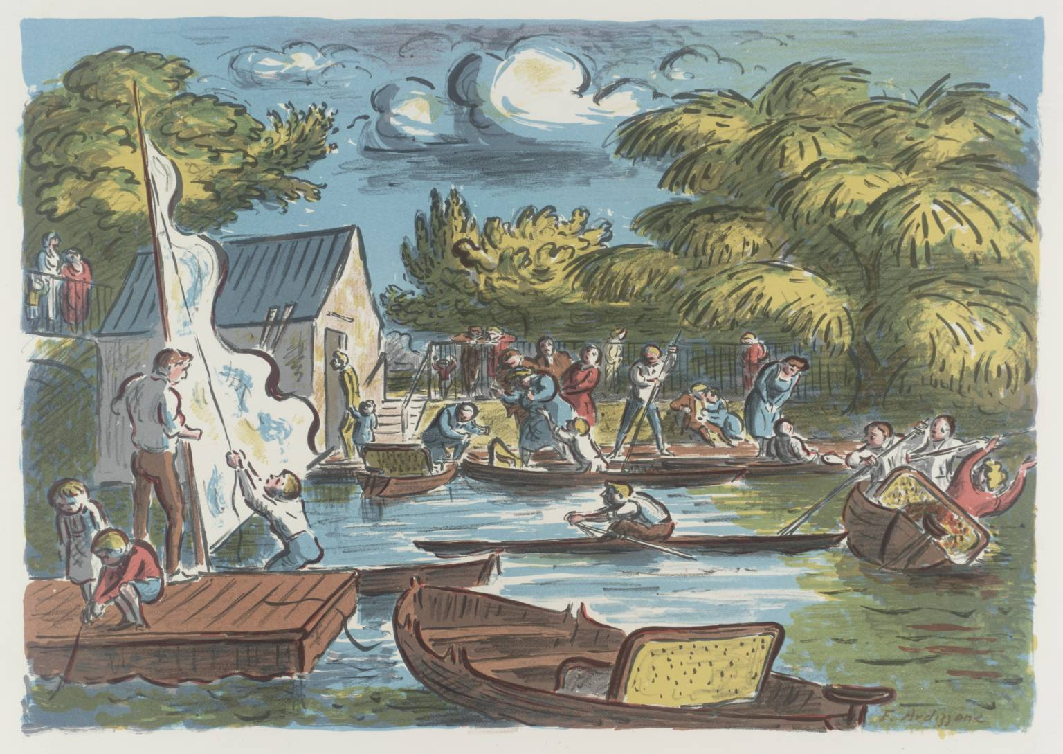 Boating Pond 1961 by Edward Ardizzone 1900-1979