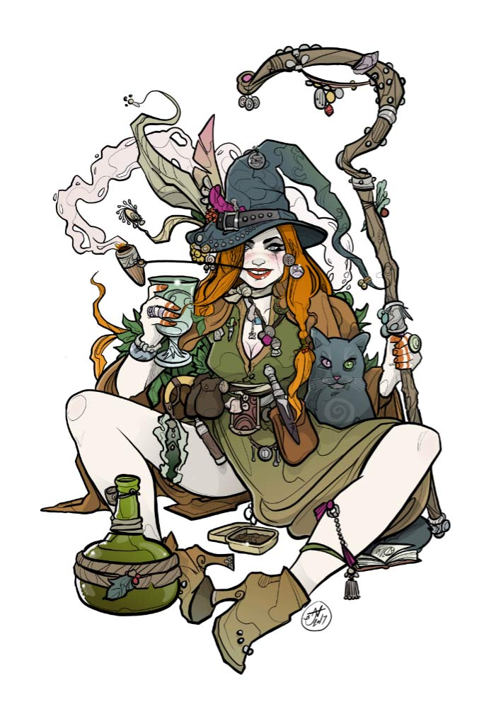 Witch and Cat - Nic Brennan - Cambridge Illustrators