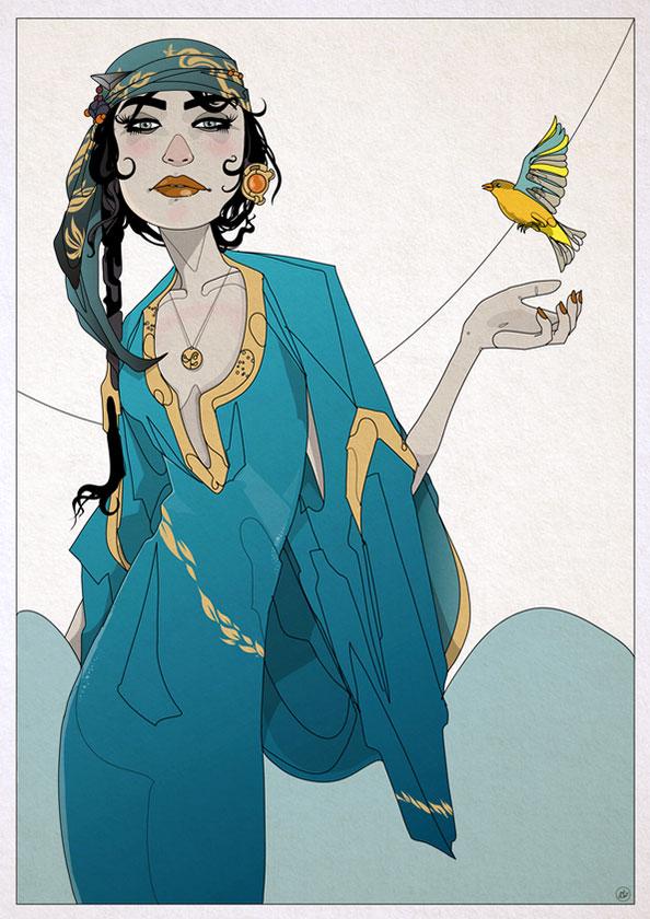 Girl and Bird - Nic Brennan - Cambridge Illustrators