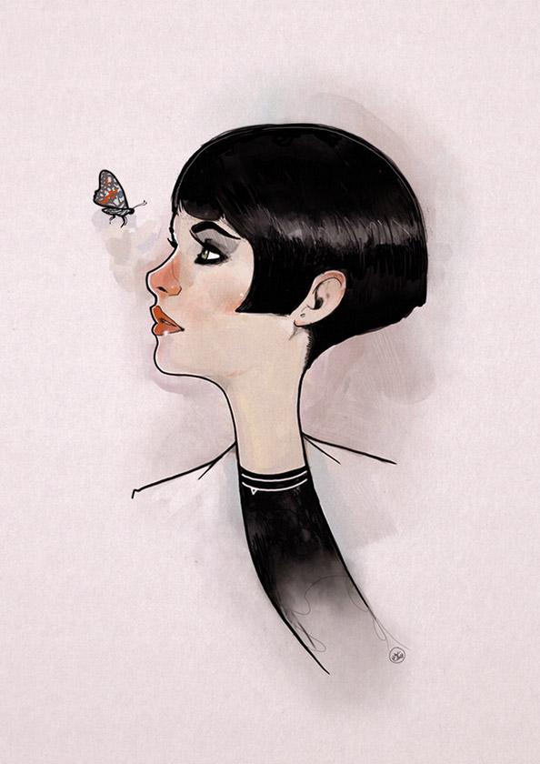 Nic Brennan - Girl and Butterfly - Cambridge Illustrators