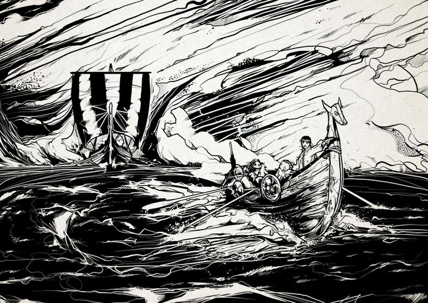 Viking boats - Nic Brennan - Cambridge Illustrators